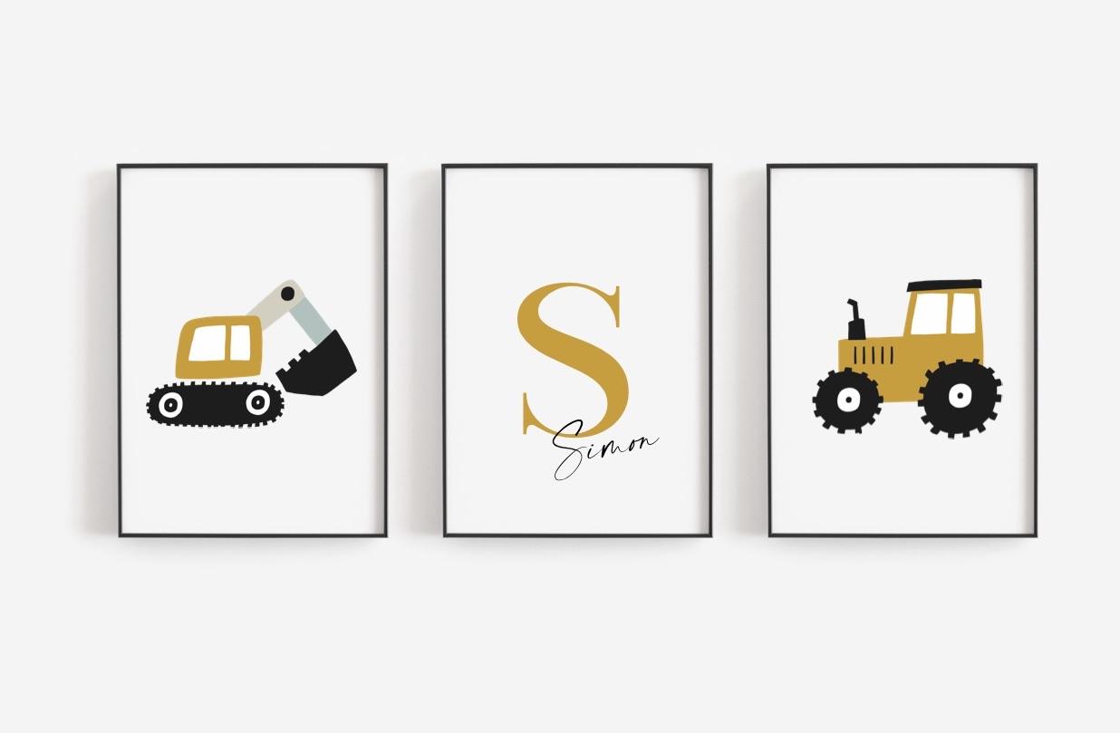 Poster Set  Auto mit Namen