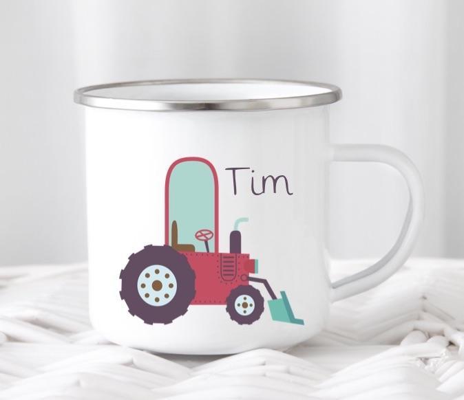 Emailletasse mit Namen Traktor Tim