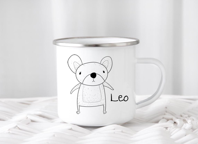Emailletasse mit Namen Maus Leo