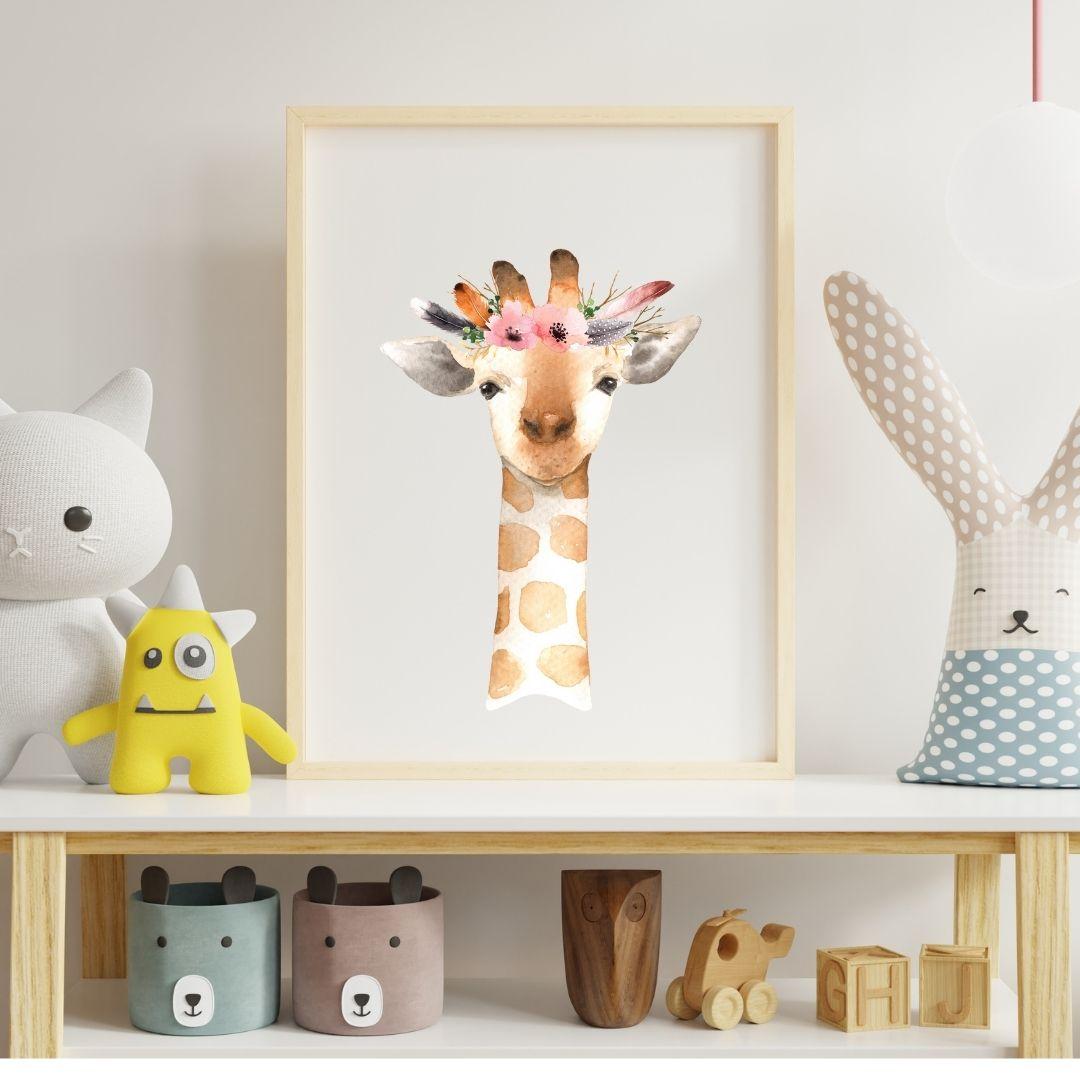 Poster Giraffe mit Blumen