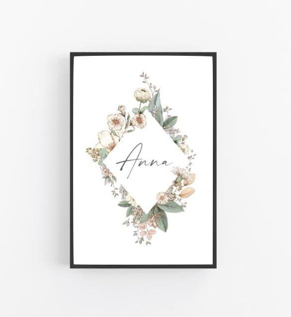 Poster mit Namen Flower Raute