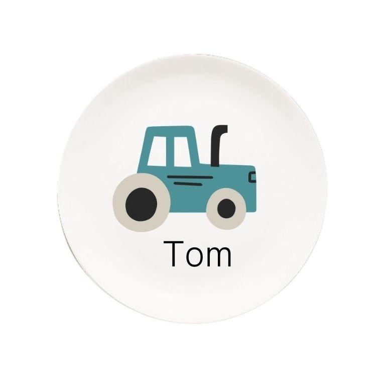 Kindergeschirr mit Namen Traktor