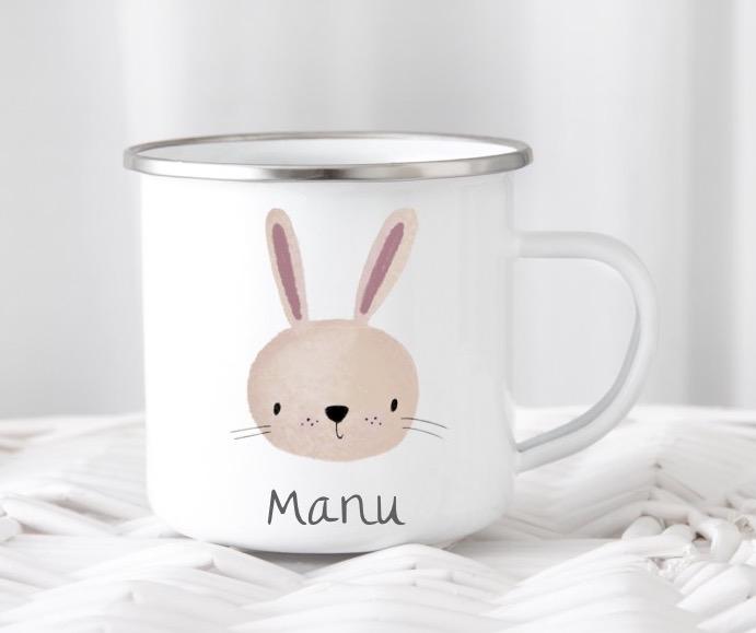 Emailletasse mit Namen Hase Manu