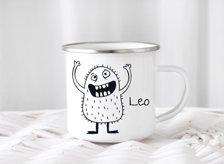 Emailletasse mit Namen Monster Leo