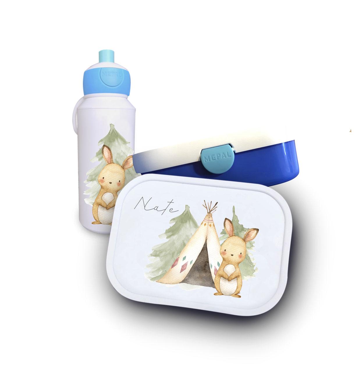 Trinkflasche und Brotdose Hase und Zelt