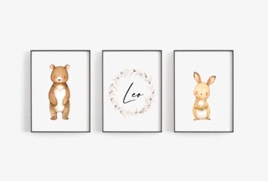 Poster Set Hase und Bär mit Namen A4 oder A5