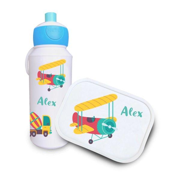 Trinkflasche und Brotdose Fahrzeuge