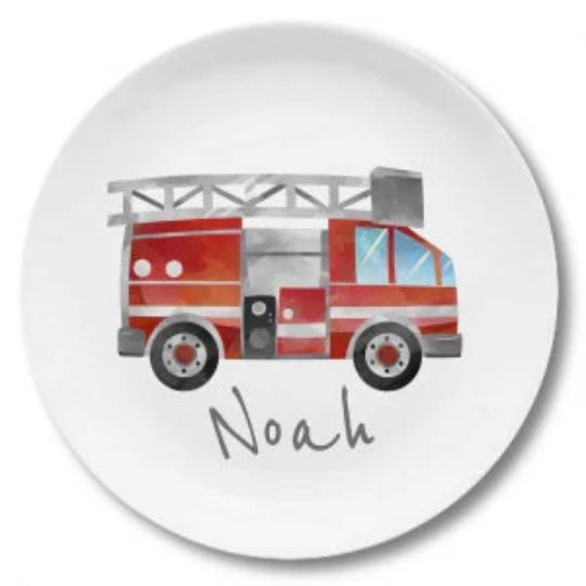 Kindergeschirr mit Namen Feuerwehr Noah