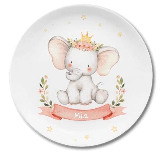 Kindergeschirr mit Namen Elefanten Prinzessin