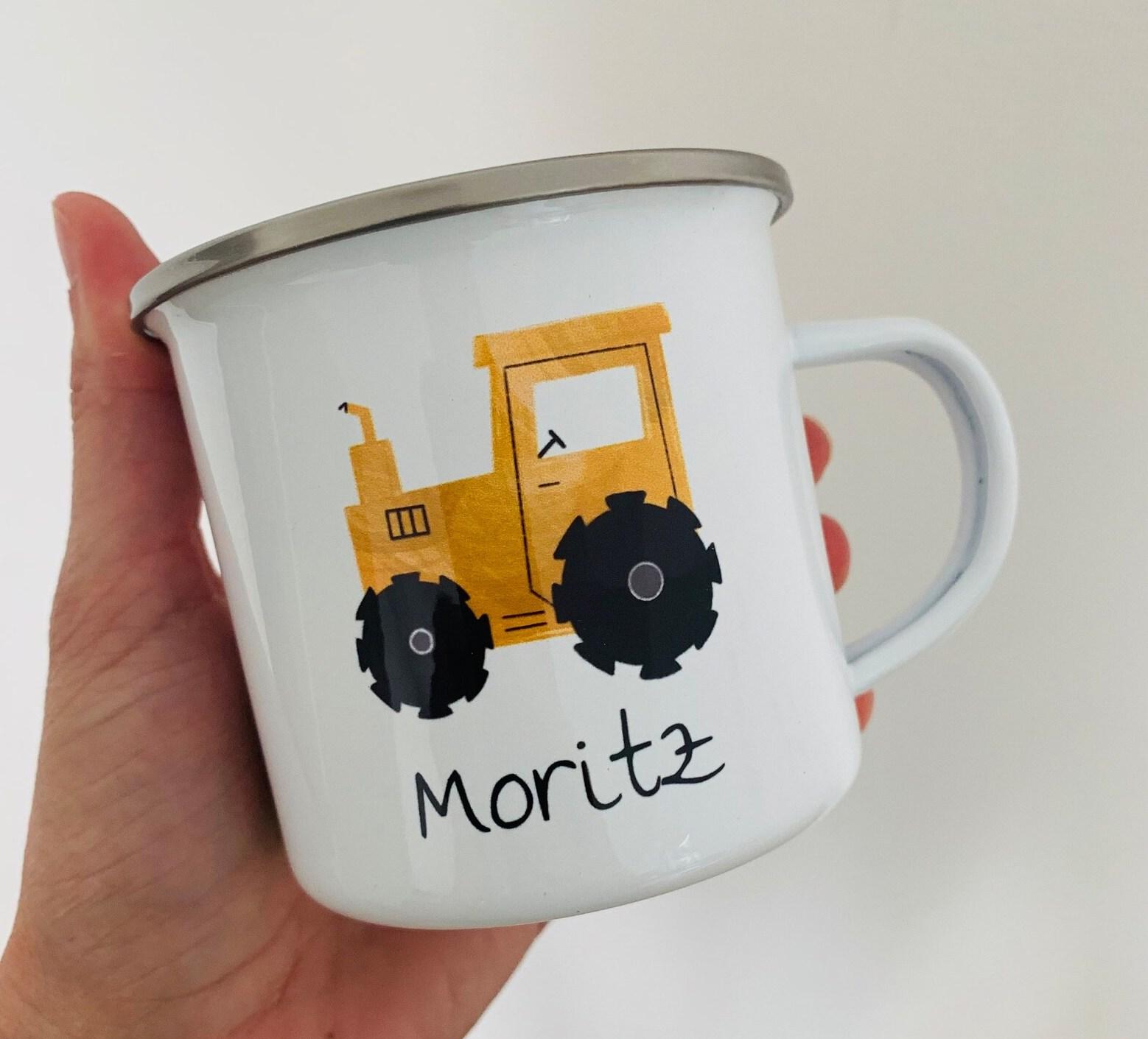 Emailletasse mit Namen Traktor Moritz