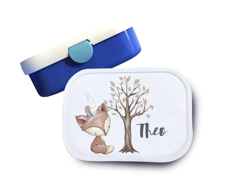 Brotdose mit Namen Fuchs mit Baum