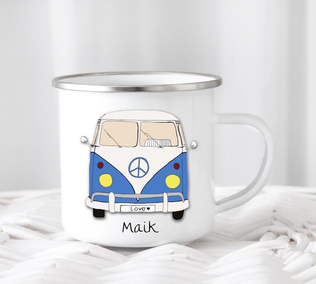 Emailletasse mit Namen  Bus blau