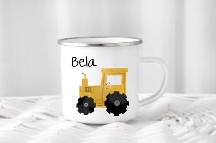 Emailletasse mit Namen Traktor Bela