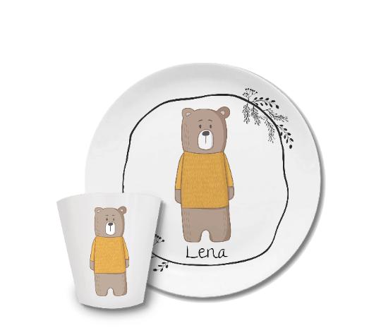 Kindergeschirr mit Namen Bär mit Pulli