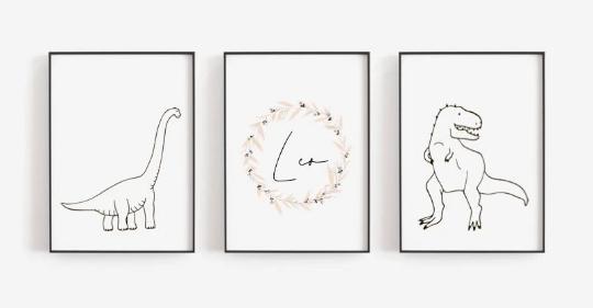 Poster Set  Dino mit Namen