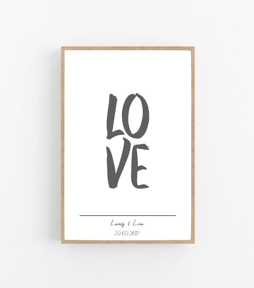 Poster mit Namen LOVE