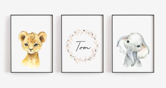 Poster Set  Löwe und Elefant mit Namen