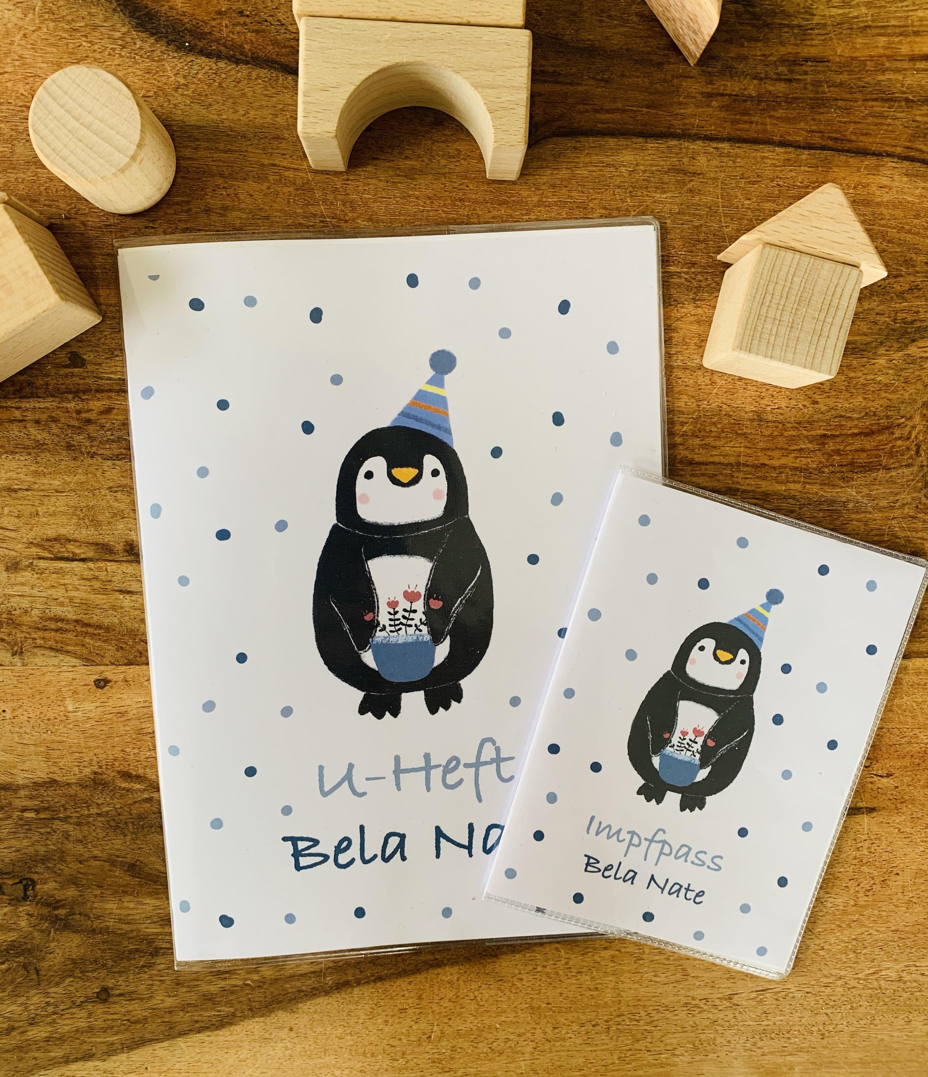 U-Heft-Hülle  und Impfpass-Hülle Pinguin mit Namen