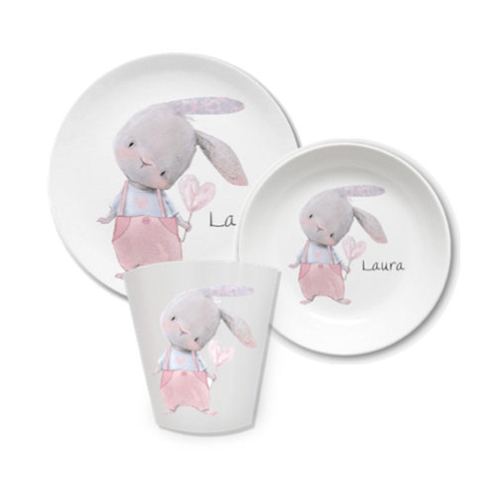 Kindergeschirr mit Namen Hase mit rosa Hose