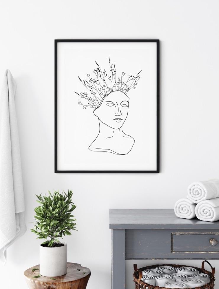 Poster Art Kopf Flower