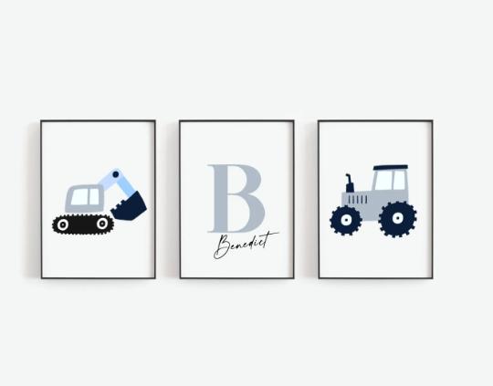 Poster Set  Bagger und Traktor mit Namen