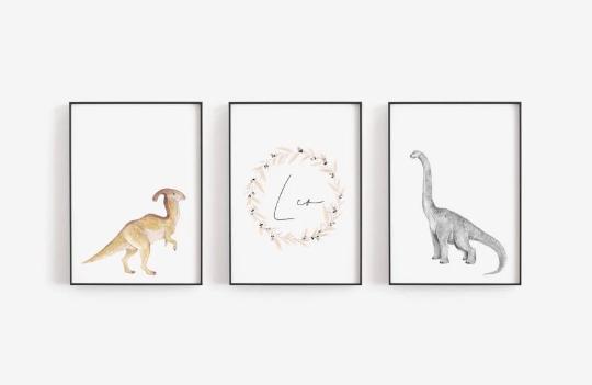 Poster Set  Dino mit Namen A4