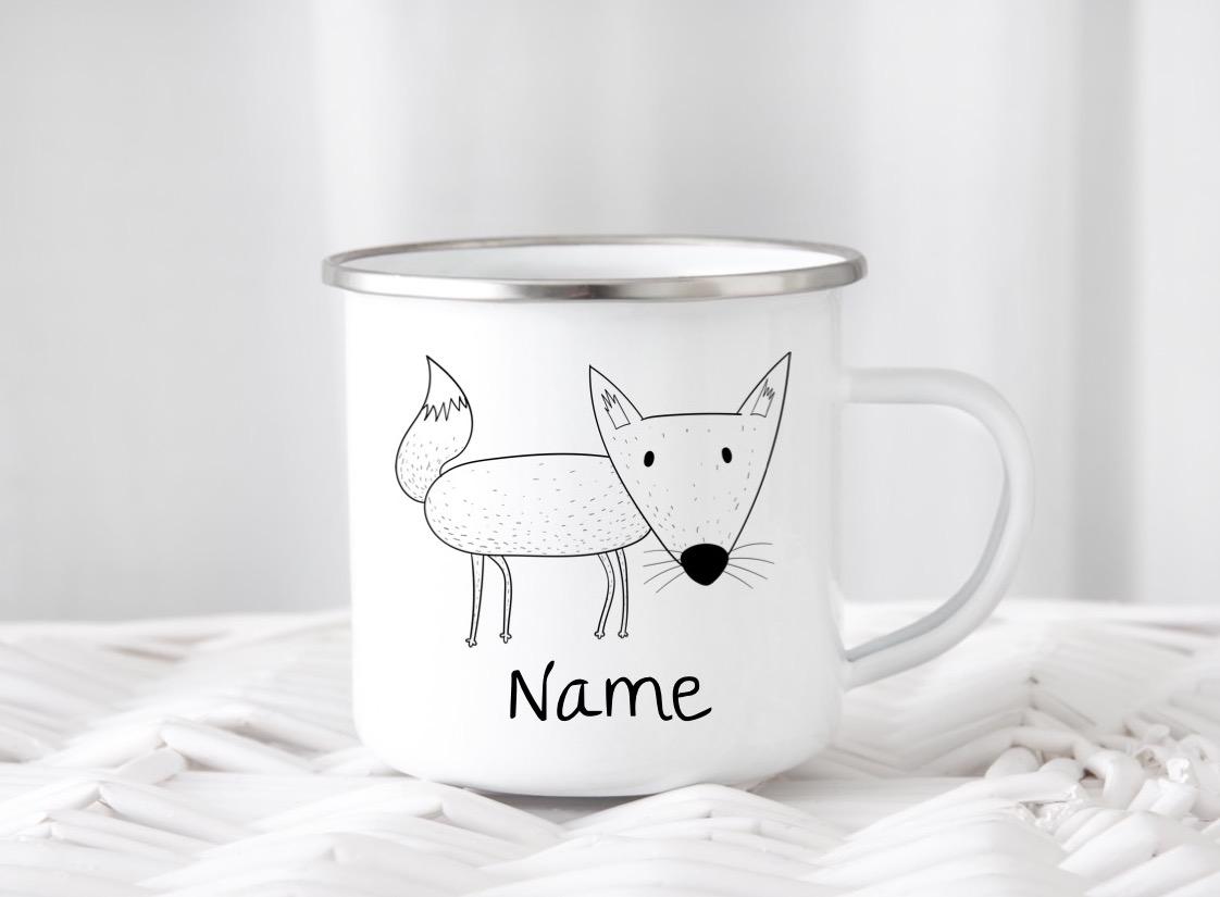 Emailletasse mit Namen Fuchs