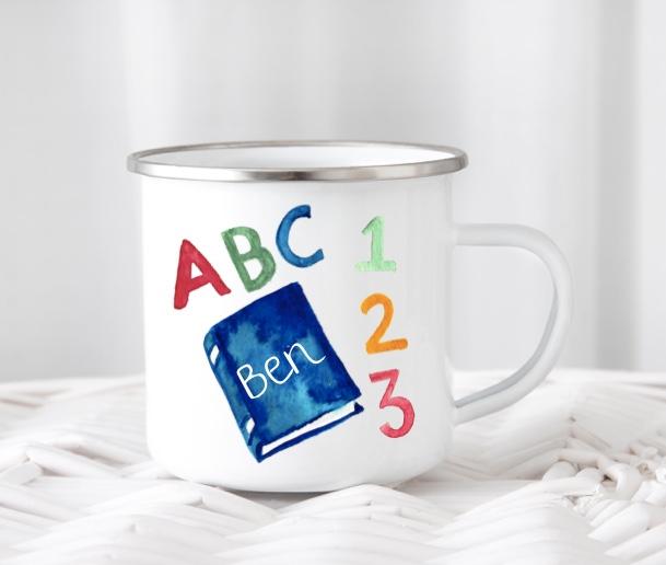 Emailletasse  mit Name  ABC Design
