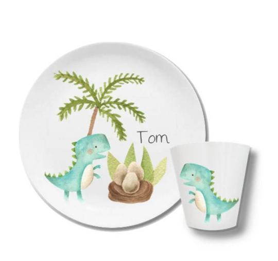 Kindergeschirr mit Namen Dino Tom
