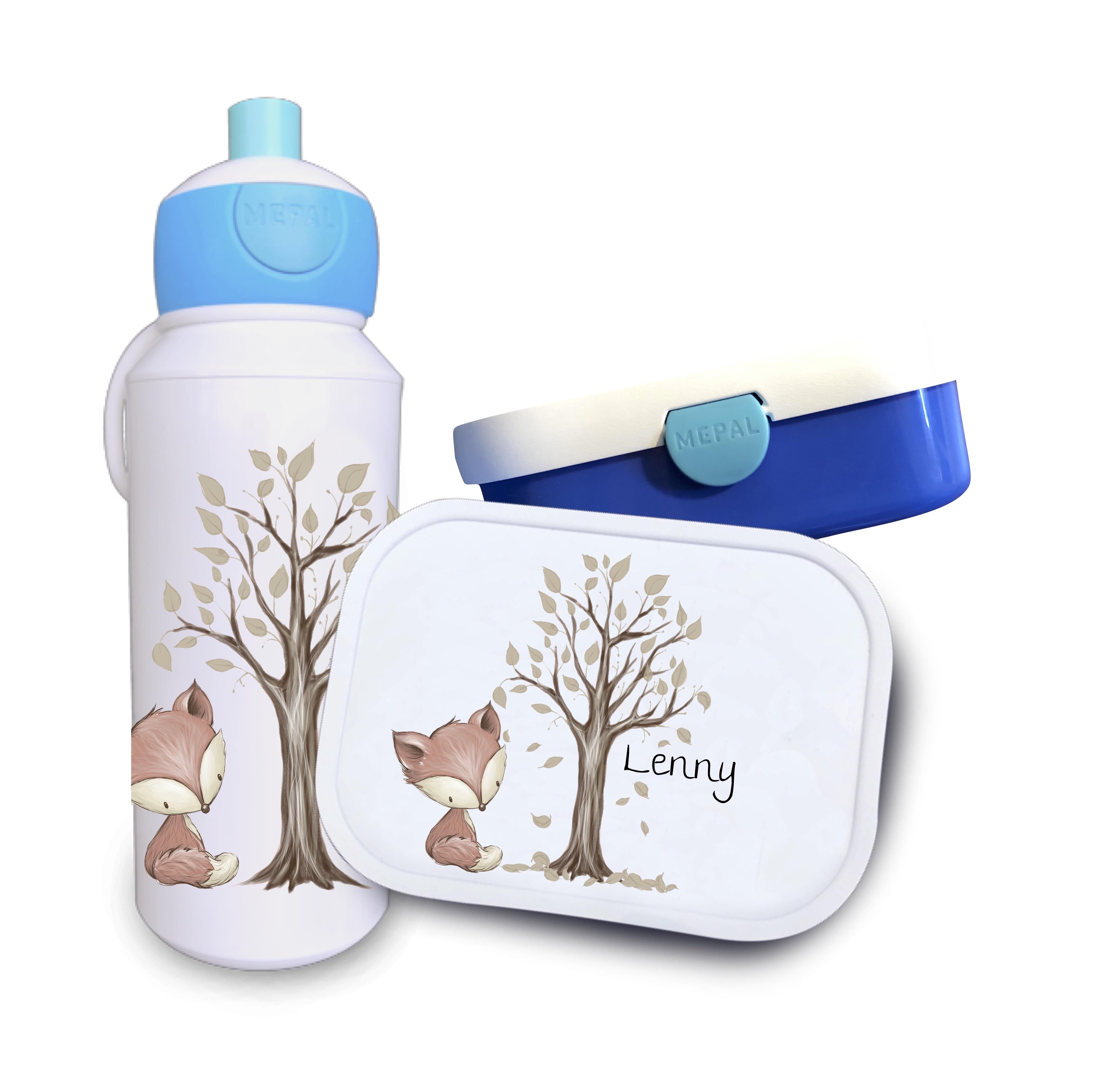 Trinkflasche und Brotdose Fuchs mit Baum